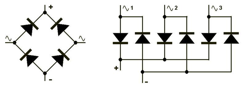 Рисунок 4. Трехфазная схема выпрямителя на полумостах.  Как правило, для сглаживания пульсирующего напряжения на...